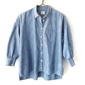 Gap | Puff Sleeve Chambray Denim Shirt XS